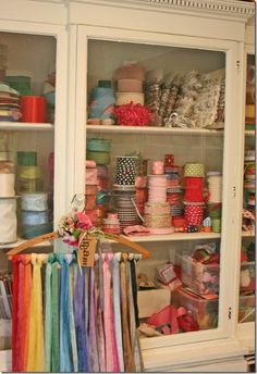 China cabinet filled with ribbons and trim...By: Suzanneduda