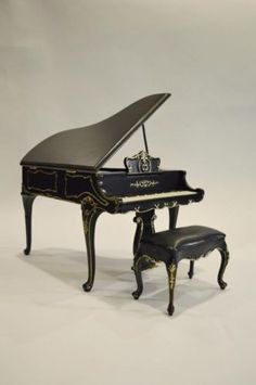 1-6-Scale-Furniture-for-Fashion-Dolls-Action-Figures-23035BKG-Baby-Grand-Piano