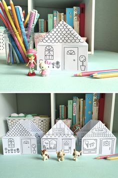 This printable little origami house is a simple and entertaining activity for kids. Download the pattern, print it out, and create hours of at-home fun. Kids can color the house and then play, making it two activities in one. #diycraft #diykids #kidsactivity Paper Crafts, Diy Crafts, Printed Pages, Paper Houses, To Color, Little Houses, Printable Coloring, Pattern Print, Diy For Kids