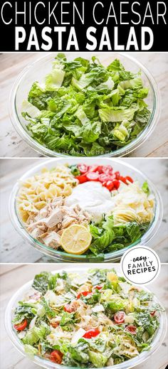 Favorite lunch - This really is the BEST SALAD EVER! Tender chiicken is tossed with lettuce, pasta, cheese, and a creamy chicken dressing and then dressed with fresh lemon juice. It takes minutes to make this easy lunch idea and tastes amazingly fresh and delicious. This chicken salad is hearty enough for dinner but still makes a great lunch or can be packed up for an on the go meal option. If you need a restaurant style salad, you will LOVE this one! Yummy Chicken Recipes, Easy Salads, Yum Yum Chicken, Healthy Salad Recipes, Brunch Recipes, Appetizer Recipes, Appetizers, Meal Recipes, Dinner Recipes