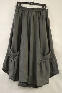 CHAMPAGNE NEUSS DESIGNER LAGENLOOK LINEN SPLAYING POCKET SKIRT PETROL $415 NWT