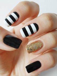 Black and white stripes gold glitter #nails #nailart #manicure