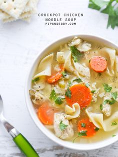 """Find """"Crockpot Chicken Noodle Soup"""" among many other recipes on the new Pip and Ebby cooking app! The app will take you step by step through the recipe and Megan's own voice will be your guide! Slow Cooker Recipes, Crockpot Recipes, Cooking Recipes, Healthy Recipes, Cooking App, Apple Recipes, Crock Pot Soup, Chicken Noodle Soup, Homemade Soup"""