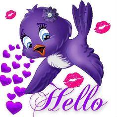 Hello little purple bird Purple Rain, Purple Love, All Things Purple, Shades Of Purple, Purple Bird, Purple Stuff, Good Morning Good Night, Good Morning Quotes, Bisous Gif