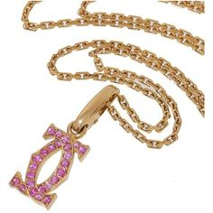 "Pre-owned Cartier 18K Rose Gold with Pink Sapphire ""CC"" Motif Pendant... (8.975 BRL) ❤ liked on Polyvore featuring jewelry, necklaces, pendant necklaces, 18k necklace, rose gold jewelry, chain pendants and 18k pendant"