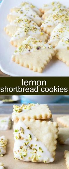 Lemon Shortbread Cookies {An Easy Lemon Pistachio Cookie} shortbread/lemon/pistachio Crisp lemon shortbread cookies dipped in white chocolate and topped with pistachios. A pretty spring cookie bursting with flavor. via (holiday foods shortbread cookies) Lemon Desserts, Lemon Recipes, Cookie Desserts, Just Desserts, Sweet Recipes, Baking Recipes, Cookie Recipes, Delicious Desserts, Dessert Recipes