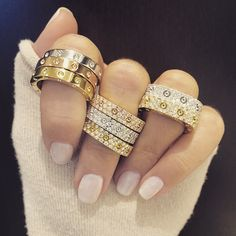 """Gild yourself in opulent gold and diamond rings from Roberto Coin. Explore Italian inspired designs at London Jewelers Americana Manhasset and visit our """"Gold"""" Trend Shop on www.londonjewelers.com/trends"""