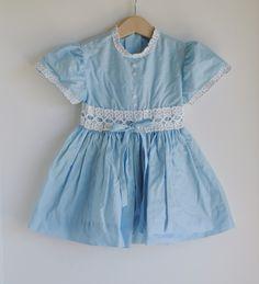 blue vintage children's dress