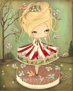 Carousel Print Merry Go Round Art Bird Carousel Carnival Girl Wall Art LARGE PRINT 11 x 14