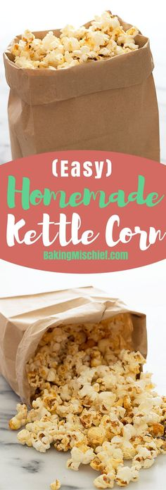 delicious sweet and salty Easy Homemade Kettle Corn recipe plus tips on how to make kettle corn without burning the sugar. Recipe includes nutritional information. Yummy Snacks, Snack Recipes, Dessert Recipes, Yummy Food, Diet Snacks, Donut Recipes, Candy Recipes, Delicious Recipes, Holiday Recipes