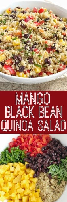 Mango black bean quinoa salad is a light healthy and filling salad. Hearty quinoa and black beans crisp red peppers green onions and cilantro all covered in an easy olive oil vinaigrette dressing. It's also great for lunch too! Veggie Recipes, Whole Food Recipes, Salad Recipes, Vegetarian Recipes, Cooking Recipes, Healthy Recipes, Cooking Tips, Veggie Food, Avocado Recipes