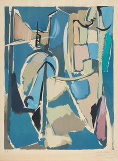 André LANSKOY (1902-1976) Composition en bleu, 1971 Lithographie, épreuve d'artiste annotée EA en bas à gauche, dédicacée, contresignée et datée en bas à droite Feuillet: 74 x 54 cm à vue Provenance: Vente… - Aguttes - 26/11/2014