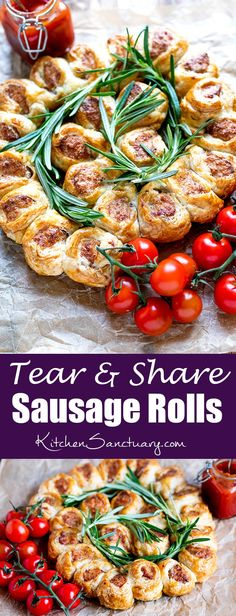 Tear and Share Sausage Rolls These 3 ingredient sausage rolls are so simple and quick to make. Perfect for parties, BBQs, buffets and picnics. Tapas, Christmas Buffet, Christmas Baking, Sandwiches, Sausage Rolls, Xmas Food, Partys, Savory Snacks, Chorizo