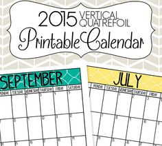 2015 Vertical Calendar Printable Colorful Quatrefoil by SimplyBrenna, $5.00