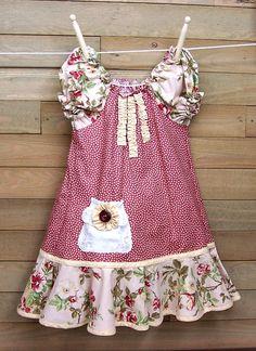 Shabby Chic Peasant Girls Dress Battenburg Pocket Dusty Rose Floral Random Dots Size 5. $34.95, via Etsy.