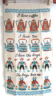 Vintage Mid Century Towel Coffee Tea Boys Love at NeatoKeen