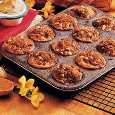 Rhubarb Nut Muffins- Love these. Super moist. I omit the nuts in the recipe, due to allergies, and substitute oats in the topping. The recipe says it only makes 10, but like the picture, I always end up with a dozen.
