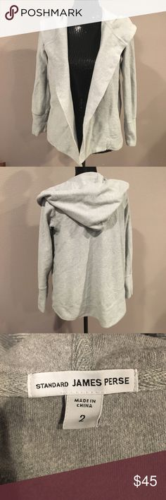 James Perse ribbed hooded cotton cardigan. Size 2 Excellent condition James Perse 100% croon ribbed hooded cardigan. Has been worn and loved but no blemishes or stains. Size in James Perse is a 2 which is equivalent to a size Medium. James Perse Sweaters