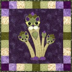 """This is block twenty seven of the popular StoryQuilt series, Garden Patch Cats by Helene Knott. The quilt block finishes at 18"""" square. Be sure and try out Tom's favorite from Helene's kitchen, This c"""
