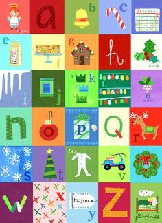 Christmas Alphabet  Art by Jill McDonald Design