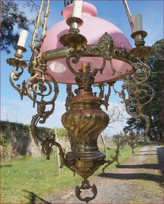 French Large Hanging Oil Lamp Chandelier 7 Light Bronze Brass Opaline Shade 1850 | eBay