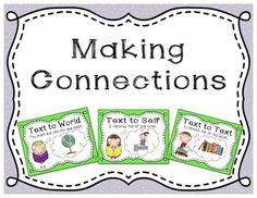 Making Connections Reading Strategies  Anchor charts to post in your classroom and matching bookmarks to help students make connections as they read.  Use these charts to teach students the foundation of making connections.  The bookmarks will help to reinforce and support these strategies for individual students to keep in their book boxes.  Includes: Making Connections Cover Page Text to Self Poster Text to Text Poster Text to World Poster Making Connects Bookmarks (3 per page)  Search ...