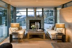 Ideas Elegant Nice Interior Living Room Of The Modern Cabin Design That Has Wooden Floor Can Be Decor With Warm Lighting Can Add The Beauty Inside The Modern House Design Ideas Impressive Elegant Modern Cabin Design Modern Tiny House, Modern Mansion, Tiny House Living, Winter Living Room, Home Living Room, Small Living Room Furniture, Living Room Remodel, Cozy Living, Simple Living