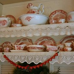 Red dishes for decorating with red...Carolyn from Aiken House & Gardens blog