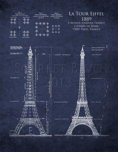 Architectural Blueprint #Art Print  The Eiffel Tower by ScarletBlvd, $25.00 #etsy #homedecor #design #architecture #blueprint #travel