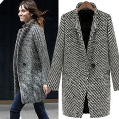 Material: Wool Blend Color: White + Black Neck Style: Lapel Sleeve Style: long sleeve Style: the Korean version Occasion: casual Note: It is smaller one size than regular coat, so if you wear Size M, Please choose Size L, thanks! Size: There are five sizes (S, M, L, XL, XXL) available for the following listing. please allow 1-2cm differs due to manual measurement, thanks (All measurement in cm and please note 1cm=0.39inch) Asian Size US Size EU Size UK Size AU Size Bust Shoulder Sleeve…