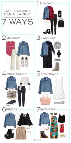 7 Days, 7 Ways: Gap - Mode - Denim Fashion Capsule Wardrobe, Capsule Outfits, Fashion Capsule, Fall Outfits, Cute Outfits, Gap Denim Jacket, Jean Jacket Outfits, Denim Jacket Fashion, Denim Outfit