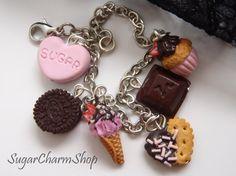 Sugar bracelet  Polymer clay charm bracelet