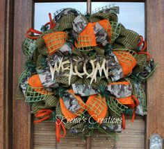 Camo and Orange Deer Horn Welcome Deco Faux Burlap Mesh Wreath Deer Camp on… Camo Wreath, Hunting Wreath, Antler Wreath, Wreath Crafts, Wreath Ideas, Diy Wreath, Flower Crafts, Diy Crafts, Deco Mesh Wreaths