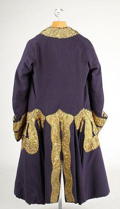 Back view, Gentleman's suit, England, c 1760. Metropolitan Museum of Art.