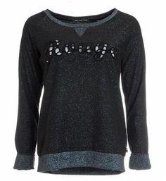 Maison Scotch sweater met een opengewerkte tekst aan de voorzijde - Zwart - NummerZestien.eu