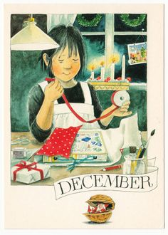 Lena Anderson December the girl packs gifts candles gnome printed in Sweden