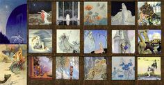 Pinned for later from ArtsyCraftsy.com Far left top:  Kay Nielsen, East of the Sun West of the Moon; Far left bottom: Warwick Goble, Mermaid and dragon;  Top row: Edmund Dulac, Stealers of Light; John Bauer, Princess Tuvstarr; Harold Gaze, Poppy Fairy; Edmund Dulac, Dreamer of Drams; Adrienne Segur, Kip the Enchanted Cat Middle row: Evelyn De Morgan, Luna; Arthur Rackham, Titiana; Virginia Frances Sterrett, Old French Fairy Tales; Anne Andersen, Grimms Fairy Tales;