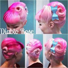 Love the back of this style with the baby blue bow - Diablo Rose hair envy