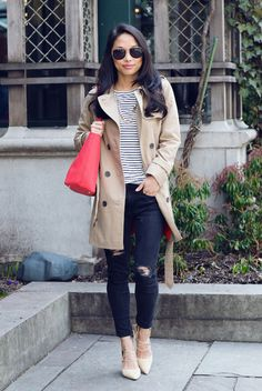 When it is not cold enough to wear thick trench coat outfit Friday Outfit For Work, Casual Friday Outfit, Casual Winter Outfits, Spring Outfits, Outfit Winter, Trench Coat Outfit, Beige Trench Coat, Casual Travel Outfit, Travel Outfits