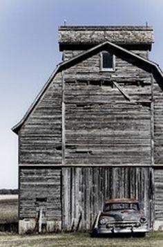 Grey Barn & Old Car