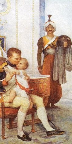 Napoleon with his son, the King of Rome.