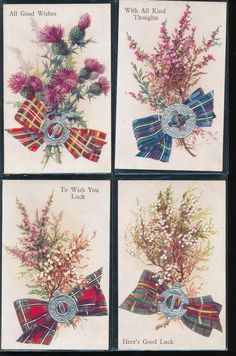 ~Nice Lot of 4 Good Luck, Best Wishes Emblem Greetings Postcards-Unused-a471 #Greetings