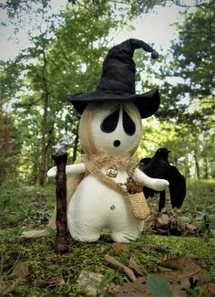 "OOAK Primitive HALLOWEEN Folk Art Ghost Witchy Warlock Doll w/Crow 12"" POPPYWISE #NaivePrimitive"