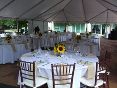Outdoor wedding dinner and reception at the plaza adjacent to the Stranahan House