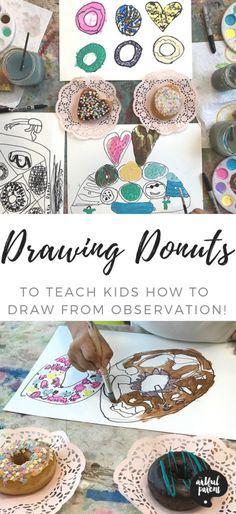Drawing donuts is a fun & delicious way for kids to practice drawing from observation. Art idea & post by Catalina Gutierrez of Redviolet Studio. via Kids Painting Easy Painting For Kids, Easy Art For Kids, Drawing For Kids, Drawing Ideas, Art Kids, Art Activities For Toddlers, Preschool Arts And Crafts, Drawing Activities, Crafts For Kids