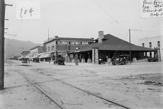 Pacific Electric Station, 1909. Brand Boulevard at the Pacific Electric Station in Glendale. Other commercial buildings in the photograph include Glendale Savings Bank and Wood's Hotel and Restaurant. Little Landers Historical Society. San Fernando Valley History Digital Library.