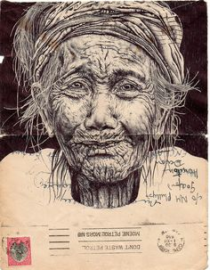 bic biro on 1950 envelope by mark powell bic biro drawings, via Flickr