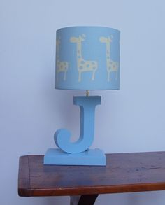 Customized Small Giraffe Drum Lamp Shade  Mist/Putty by PerrelleDesigns, $30.00