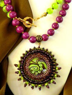 Green Purple OOAK Pendant by kozimoart on Etsy