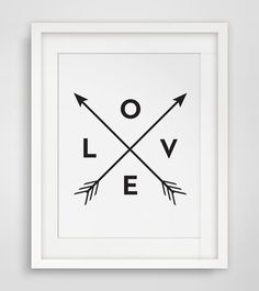 Love Arrow Print, Print Love, Black and White Wall Art - Instant Download - Modern Minimalist Tribal Home Decor, Wall Art - Multiple Sizes